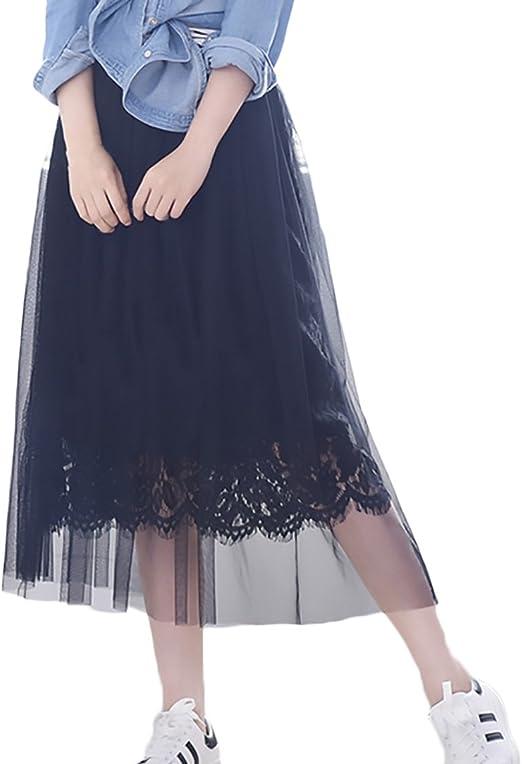 HaiDean Falda Mujer Elegantes Encaje De Malla Faldas Largas Verano ...