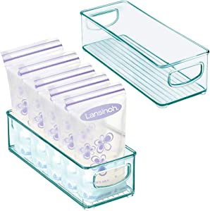 mDesign Baby Food Kitchen Refrigerator Cabinet or Pantry Storage Organizer Bin with Handles - for Breast Milk, Pouches, Jars, Bottles, Formula, Juice Boxes - BPA Free, 10