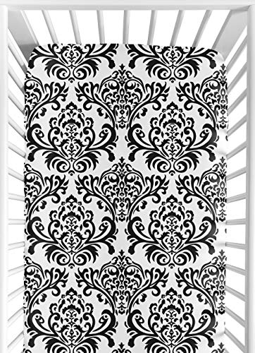 Sweet Jojo Designs Black and White Isabella Fitted Crib Sheet for Baby/Toddler Bedding Sets - Damask Print