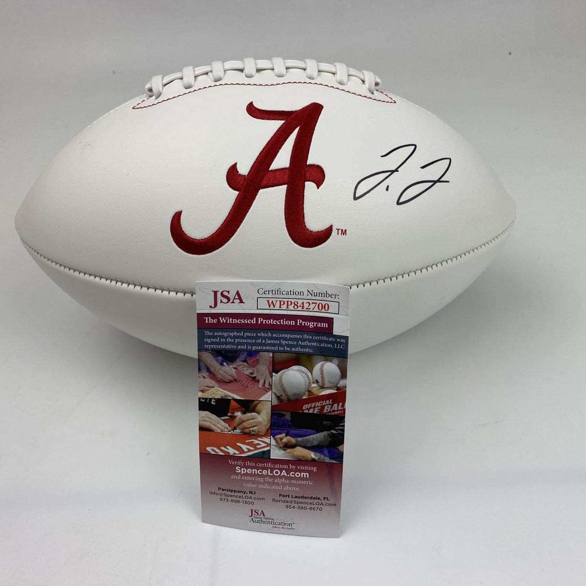 Autographed//Signed Jerry Jeudy Alabama Crimson Tide Full Size FS White Panel Logo College Football JSA COA