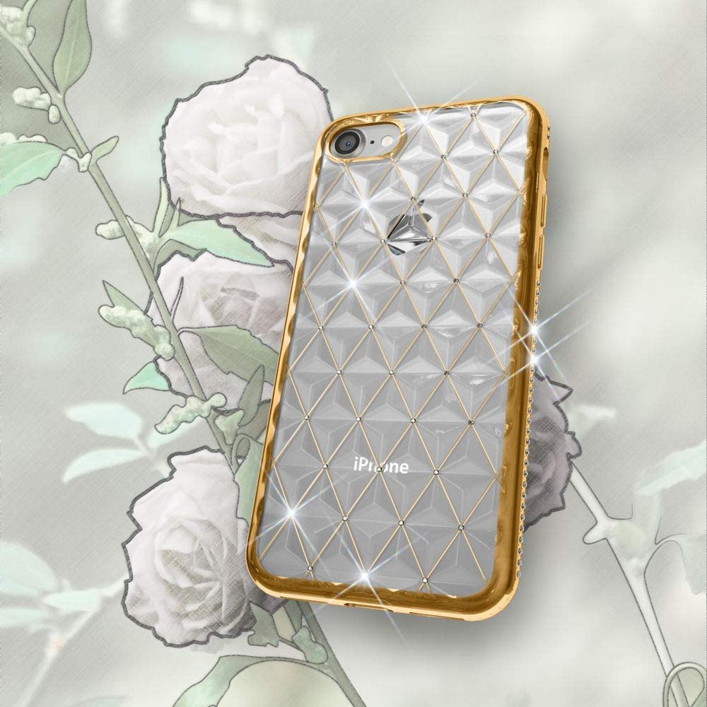 Protective Slim Skin Shockproof Gel Bling Protector Bumper Ultra-Thin Silicone Back-Cover Crystal Diamond Pattern NALIA Rhinestone Case compatible with iPhone SE 2020//8 // 7 Color:Silver