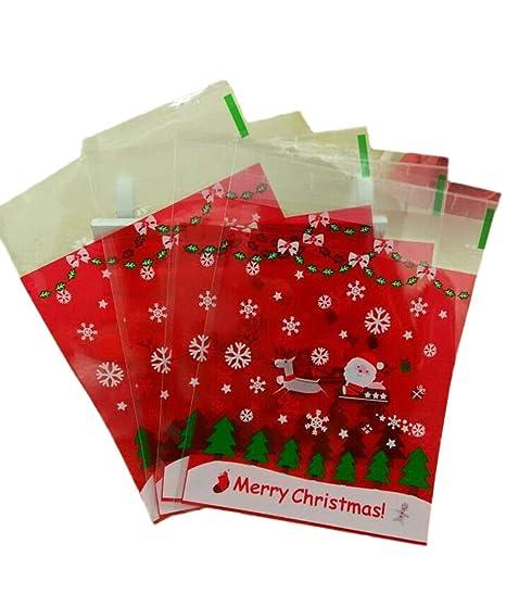 Demarkt 100Pcs Autoadhesivo Caramelo Bolso Linda Feliz Navidad Sacos de Plástico Sellados Galletas Aperitivos Paquete Bolsa Regalos Bolsas de Embalaje ...