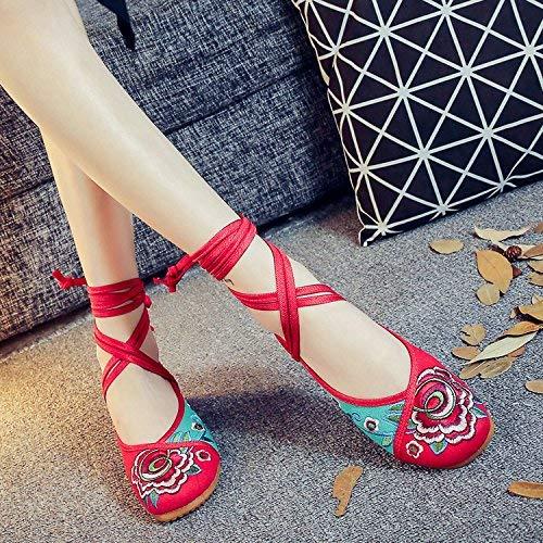 Fuxitoggo Bestickte Schuhe Sehnensohle Ethno-Stil weibliche Stoffschuhe Mode bequem lässig im Anstieg grün 39 (Farbe   - Größe   -)