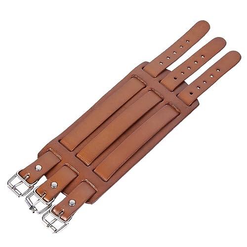 TENYE 3 Layer Wide Belt Genuine Leather Men Wristband Bracelet Unisex Couple o7YIa