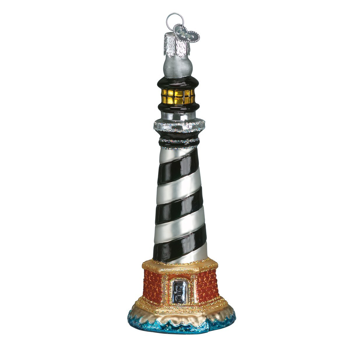Cape Hatteras Lighthouse Location Collection Old World Christmas Glass Blown Ornament with S-Hook and Gift Box