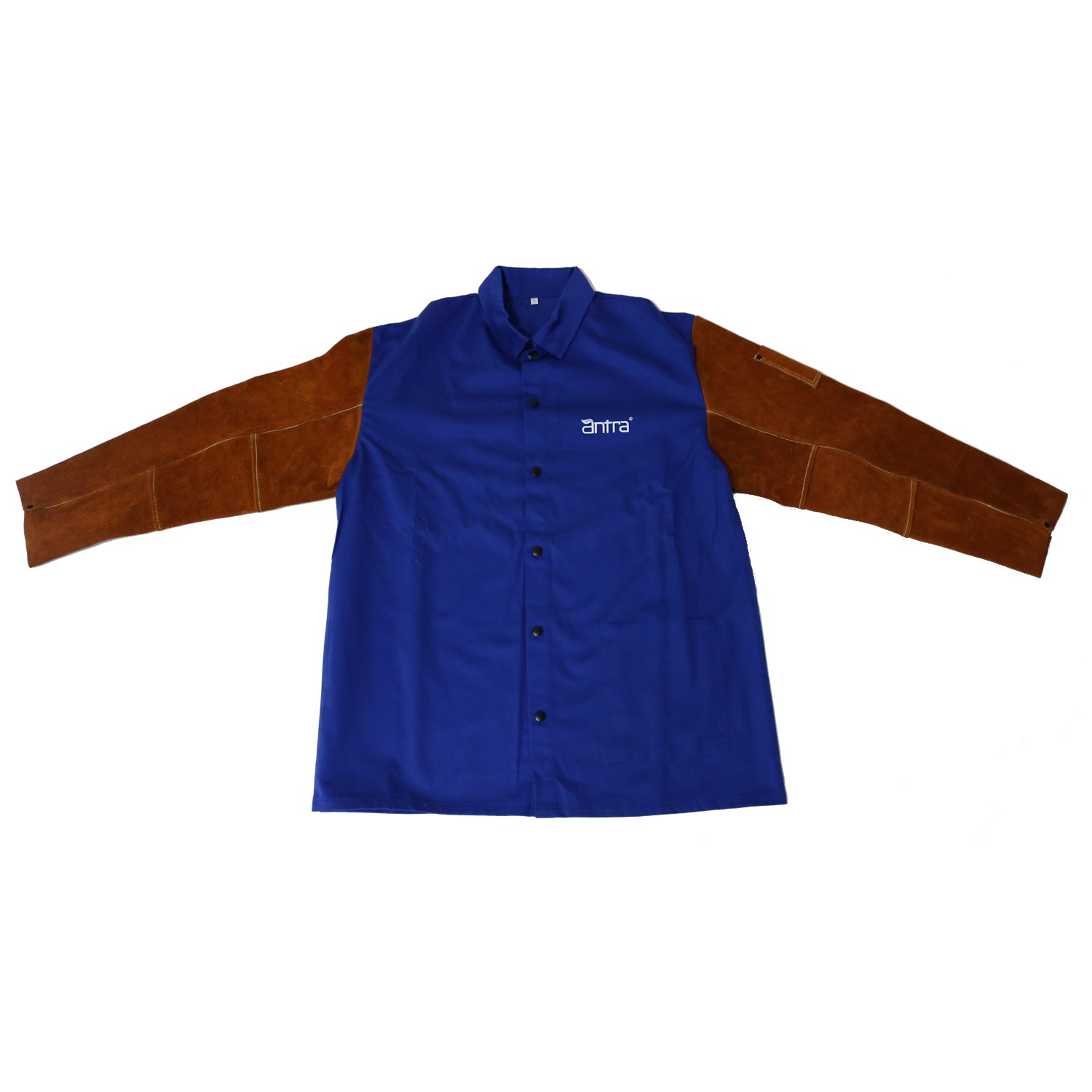 Antra WWJ-120L Flame Resistant Cotton Welding Jacket with Split Cowhide Sleeves Size L by Antra (Image #2)
