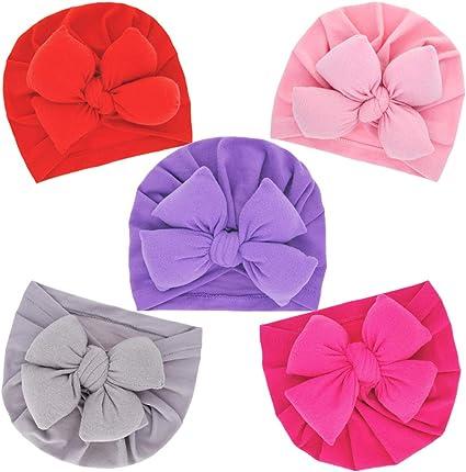 Lumsinker 5Pcs Fashion Bow Baby Girl Hat Turban Knot Infant Headbands Hospital Cap Wraps Hat
