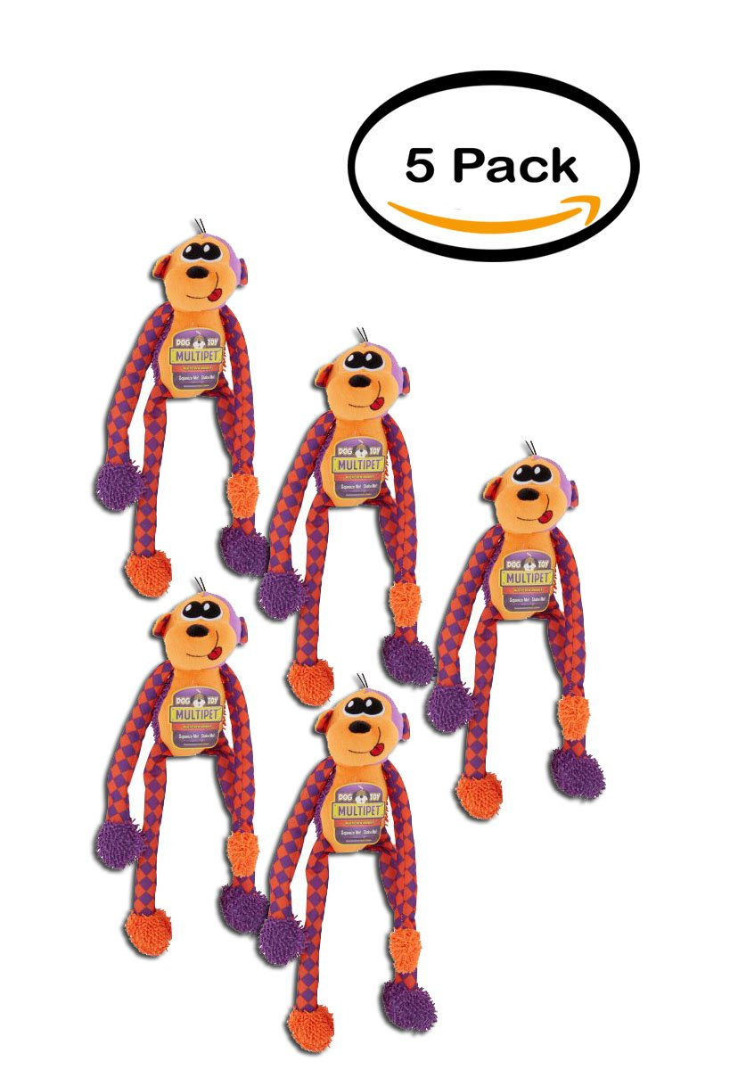 PACK OF 5 - Multipet Dog Toy Multicrew Monkey