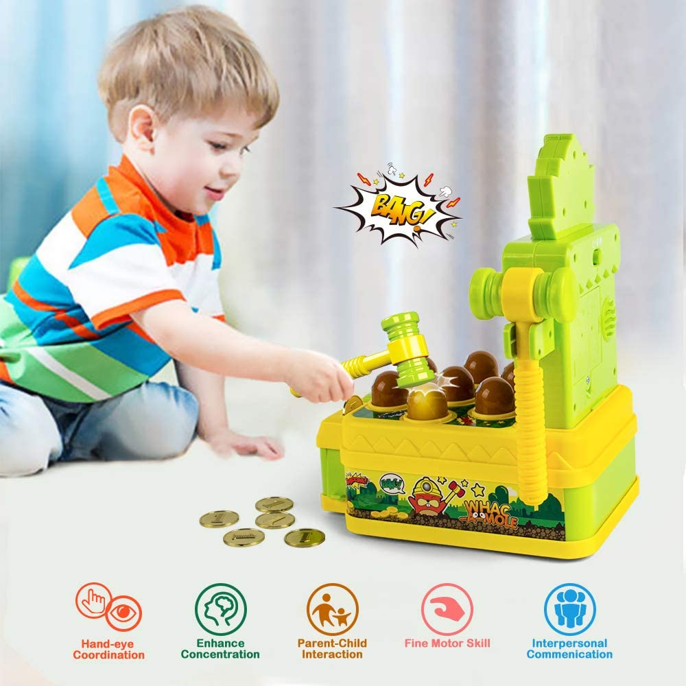 Mini Electronic Arcade Game with 2 Hammers Whack A Mole Toy VATOS Whac-A-Mole Game Developmental Toy Interactive Toy Pounding Toys Toddler Toys for 3 4 5 6 7 8 Years Old Boys Girls