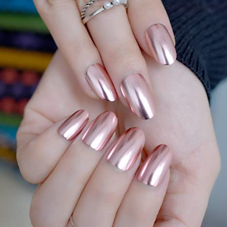 Amazon.com : Oval Mirror Fake Nails Light pink Ladies False Nails Cool Style Sexy Nail Decoration Tips N18 : Beauty