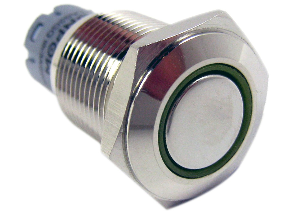 Yellow M12 Metal Push Button w// Annular LED Indicator Momentary type