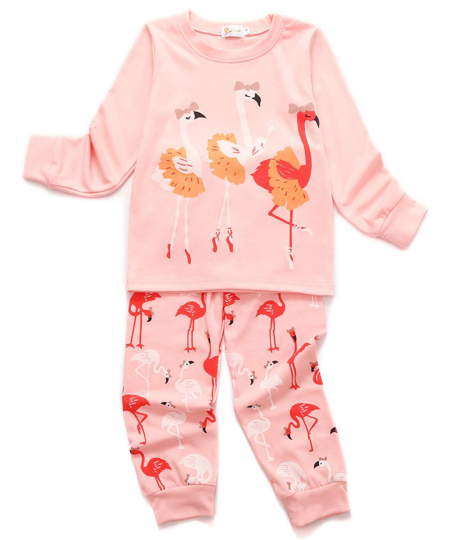 Tkria Girls Christmas Pyjamas Set Cute Kids Long Sleeve Cotton Flamingo Pjs Sleepwear Tops Shirts & Pants Nightwear Children 1-7 Years