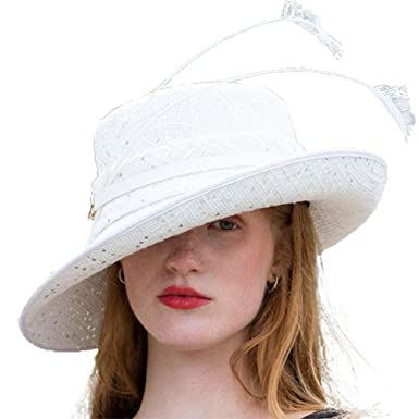 49676c0b9 June's Young Women Hats White Color Feather Church Hats Wedding ...