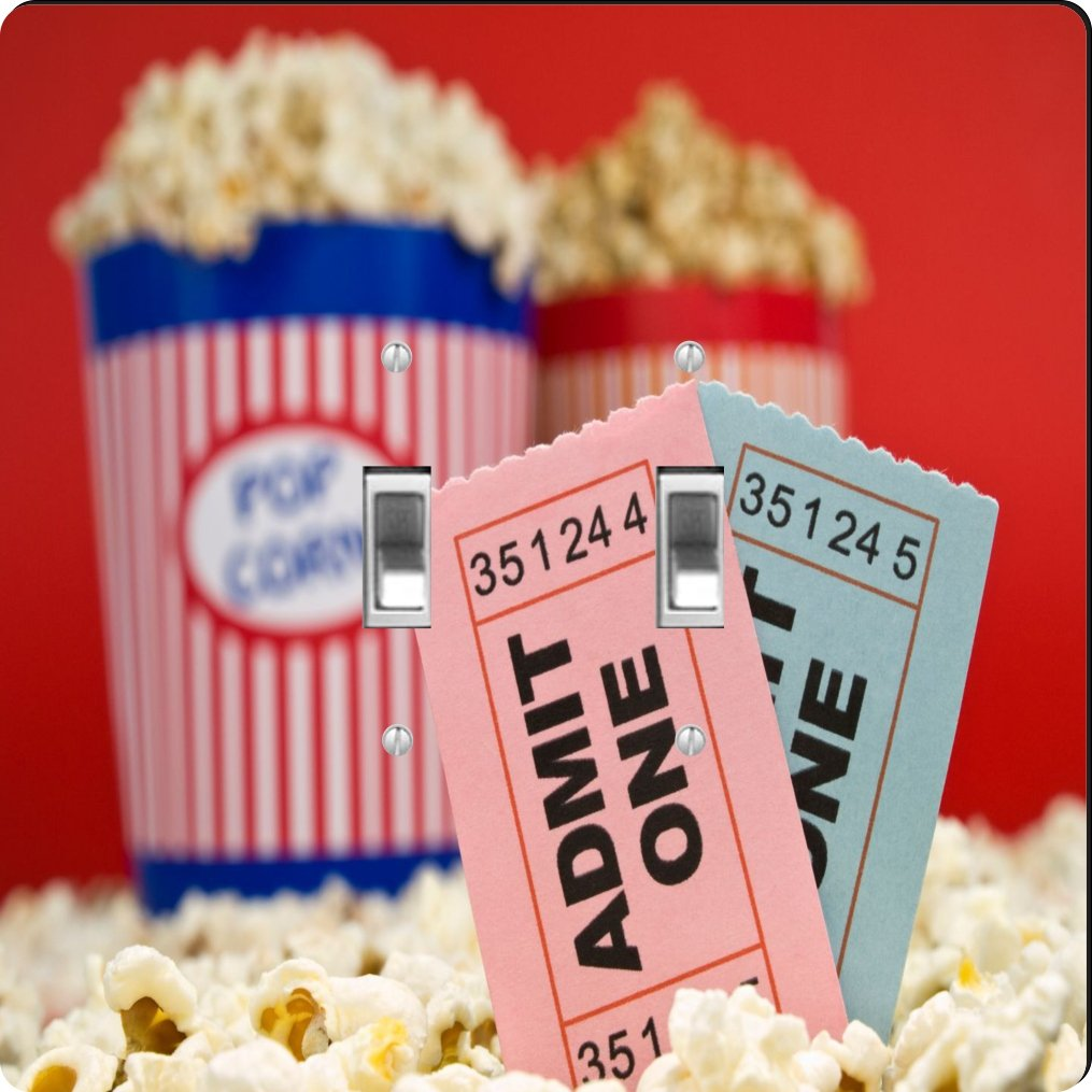 Rikki Knight Movie Stubs and Popcorn Design Double Toggle Light Switch Plate