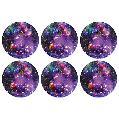 (CARIBOU Coasters, Purple Marvel Nebula Galaxy Design Absorbent ROUND Fabric Felt Neoprene Coasters for Drinks, 6pcs Set)