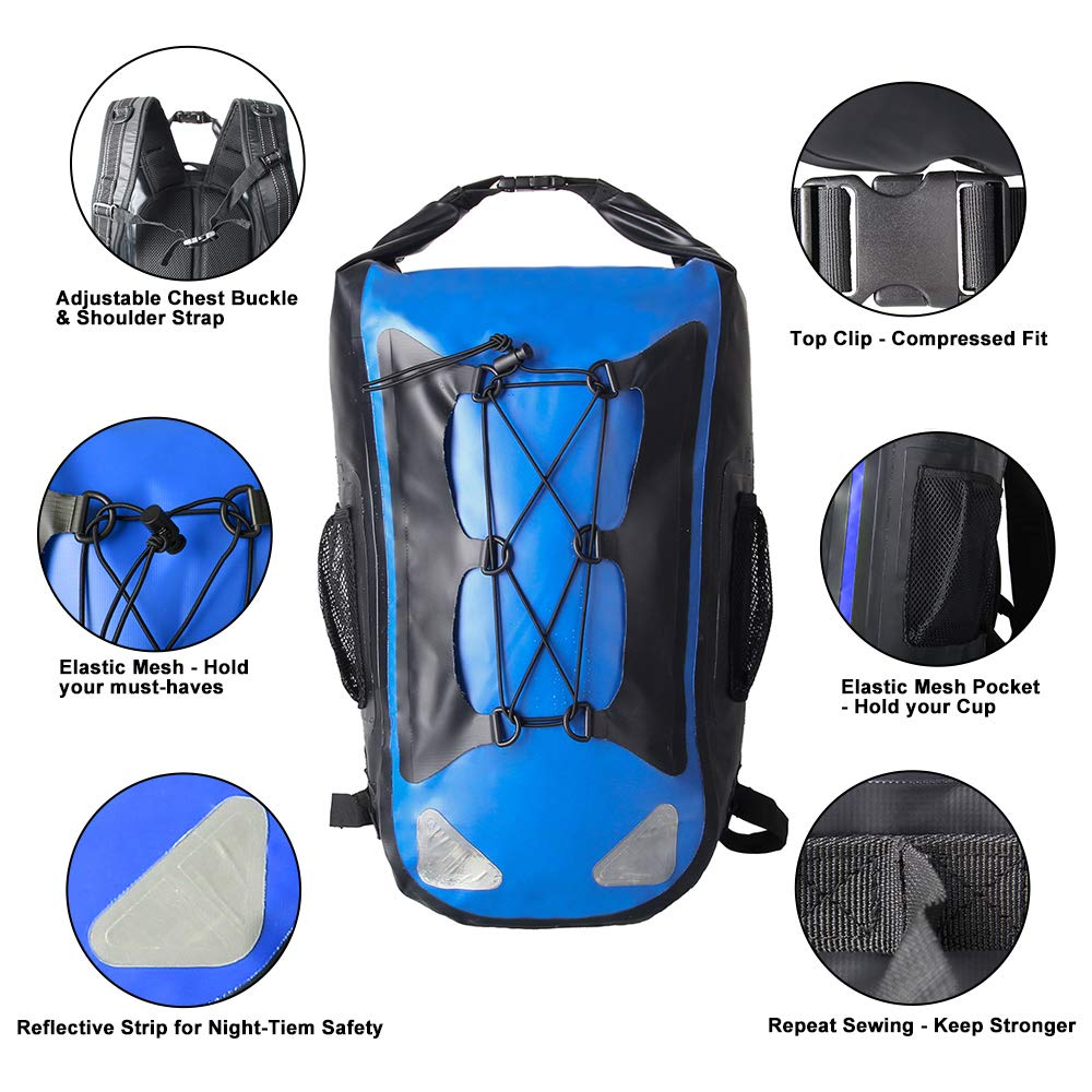 Dry Backpack Waterproof Roll Top Bag for Kayaking Rafting Boating Swimming  Camping Hiking Fishing Floating Beach Outdoor Water Sports (blue)   Amazon.co.uk  ... d500fbdc5c0a3