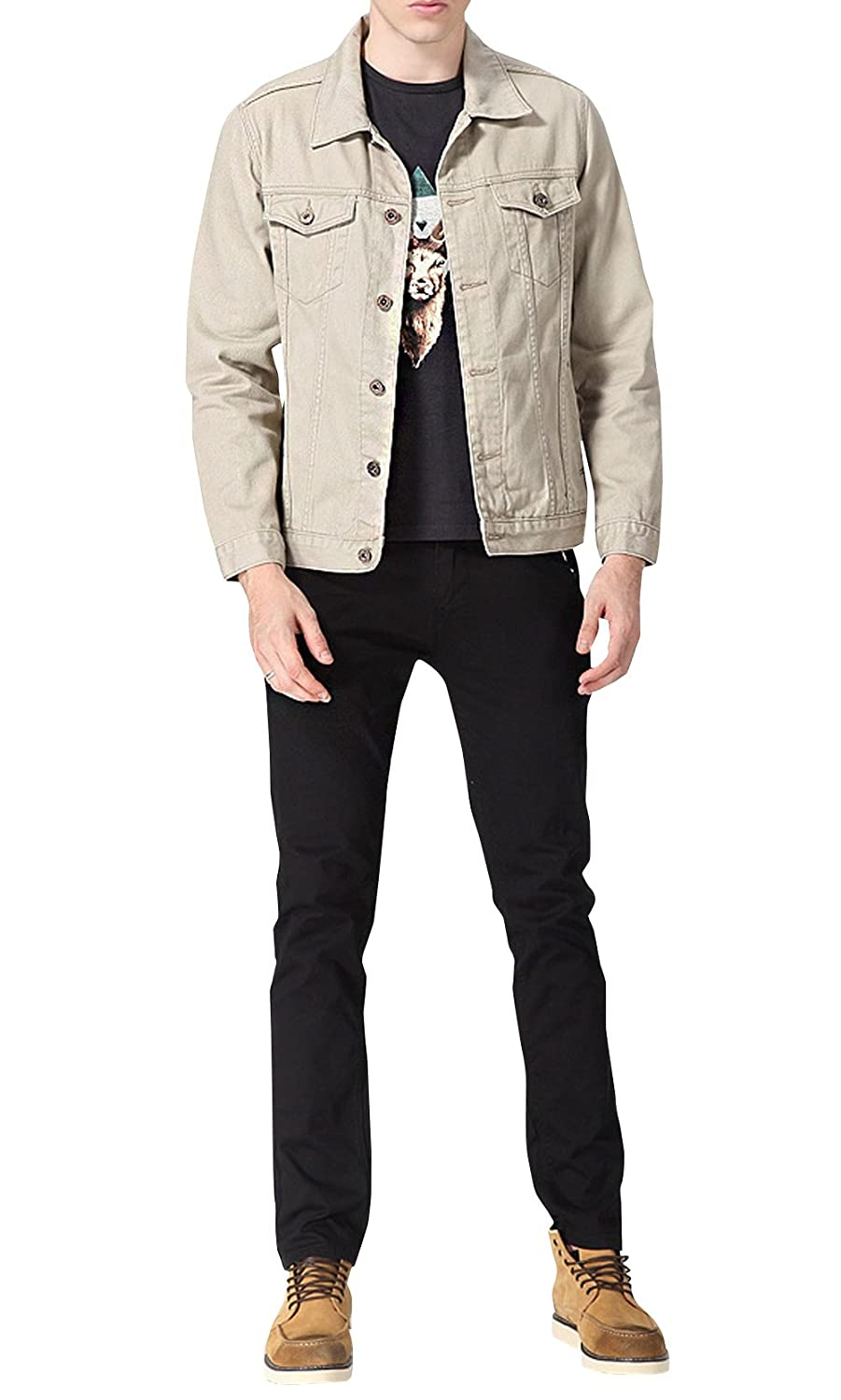 LETSQK Men's Jean Denim Jacket Cotton Casual Classic Trucker Coat