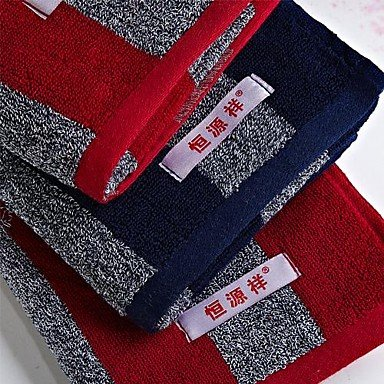 FPP 3pcs Hand Towels Pack, Black or Red Stripe Design 100% Cotton Hand Towel , Red