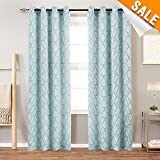 Turquoise Curtains Living Room Curtain Panels Jacquard Contemporary Lattice Grommet Window Treatment Set Bedroom 2 Panels 84