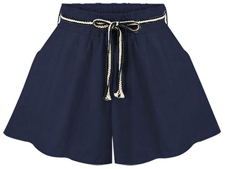 BOBOYU Womens Slim Vogue Pure Color Thin Drawstring Elastic Waist Wide Leg Board Shorts for cheap