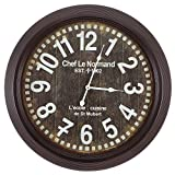 Cheap Yosemite Home Decor CLKA1A082NE Circular Iron Wall Clock Black Frame, Black Face, White Text, White Hands
