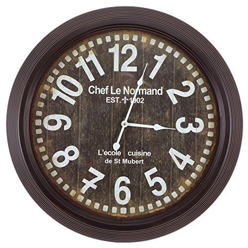 Yosemite Home Decor CLKA1A082NE Circular Iron Wall Clock Black Frame, Black Face, White Text, White Hands