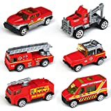 Tianmei 6 Cars in 1 Set Fire Rescue styling 1:64 Alloy Diecast Vehicle Models Collection Kids Toy, Fire Truck Jeep Ambulance Ladder Car (TN 6Pieces - Fire Fighting)