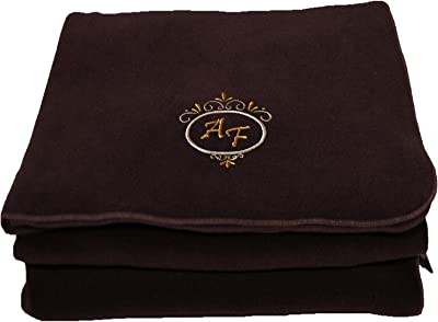 BgEurope Personalized Custom Embroidered Polar Sofa Bed Travel Fleece Blanket - REF. Deluxe - Brown