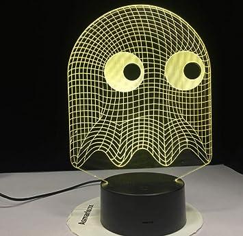 Juego de arcade fantasma brillante 3d luz de noche led mesa 7 cambio de color novedad iluminación niños regalo de niños luz de noche: Amazon.es: Bricolaje y herramientas
