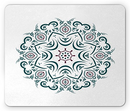 Mandala Mouse Pad by Lunarable, Authentic Tibetan Temple Figured Stylized Celestial around Unifying Centre Print, Standard Size Rectangle Non-Slip Rubber Mousepad, Green Red (Desk Collection Figured)