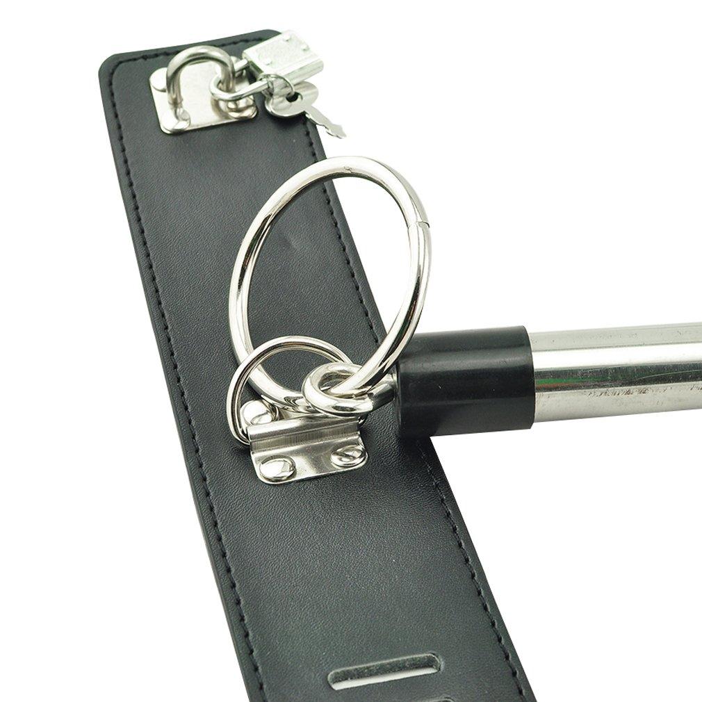 Careshine Bondage Jouets Kits du SM PU cuir en acier inoxydable Bondage Jambe Spreader Bar Ankle Cuffs Serrures 2 cadenas