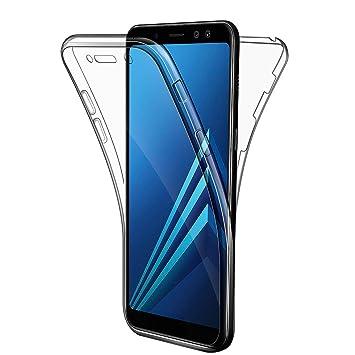 AROYI Funda Samsung Galaxy A8 2018, Transparente Silicona TPU Carcasa Doble Cara 360 Grados Full Body Fundas para Samsung A8 2018 Funda Cover Case