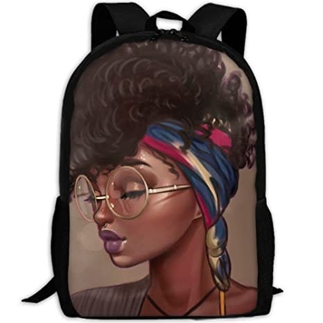 80c0aa804b Amazon.com  SARA NELL School Backpack African Woman Art Black School ...