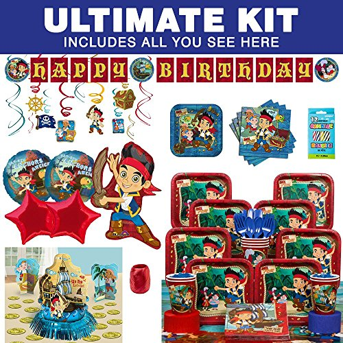 Pirate Costume Party Ideas (Costume Supercenter BBKIT834 Jake And The Neverland Pirates Birthday Party Ultimate Tableware Kit)