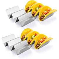 Taco Holder Stand, HapWay 4 Pack Stainless Steel Taco Truck Tray Style, Mexican Food Taco Rack Shells, Safe for Baking…