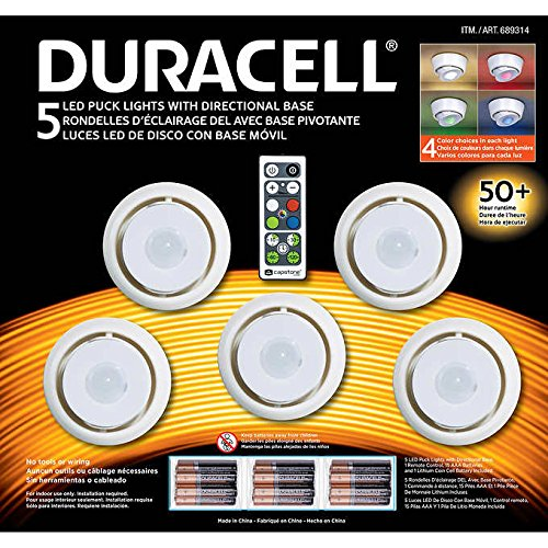 Multi Directional Accent Light - Capstone LED Puck Lights with Directional Base, 5 Count