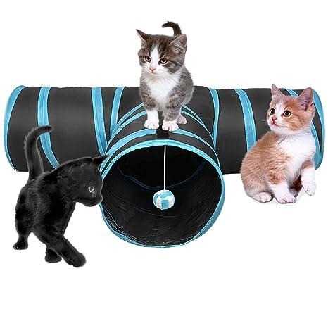 SENYEPETS - Túnel plegable para gato (3 vías), color negro y azul: Amazon.es: Productos para mascotas