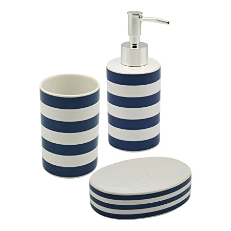 Harbour Housewares Blue And White Striped Ceramic 3 Piece Bathroom Set.  Including Soap Dispenser,