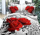 3D Flower Luxury Red Rose Bedding Sets, 1Duvet Cover,1 Flat Sheet, 2 Pillow Cases,4 Piece Soft 3D Bedding Sets