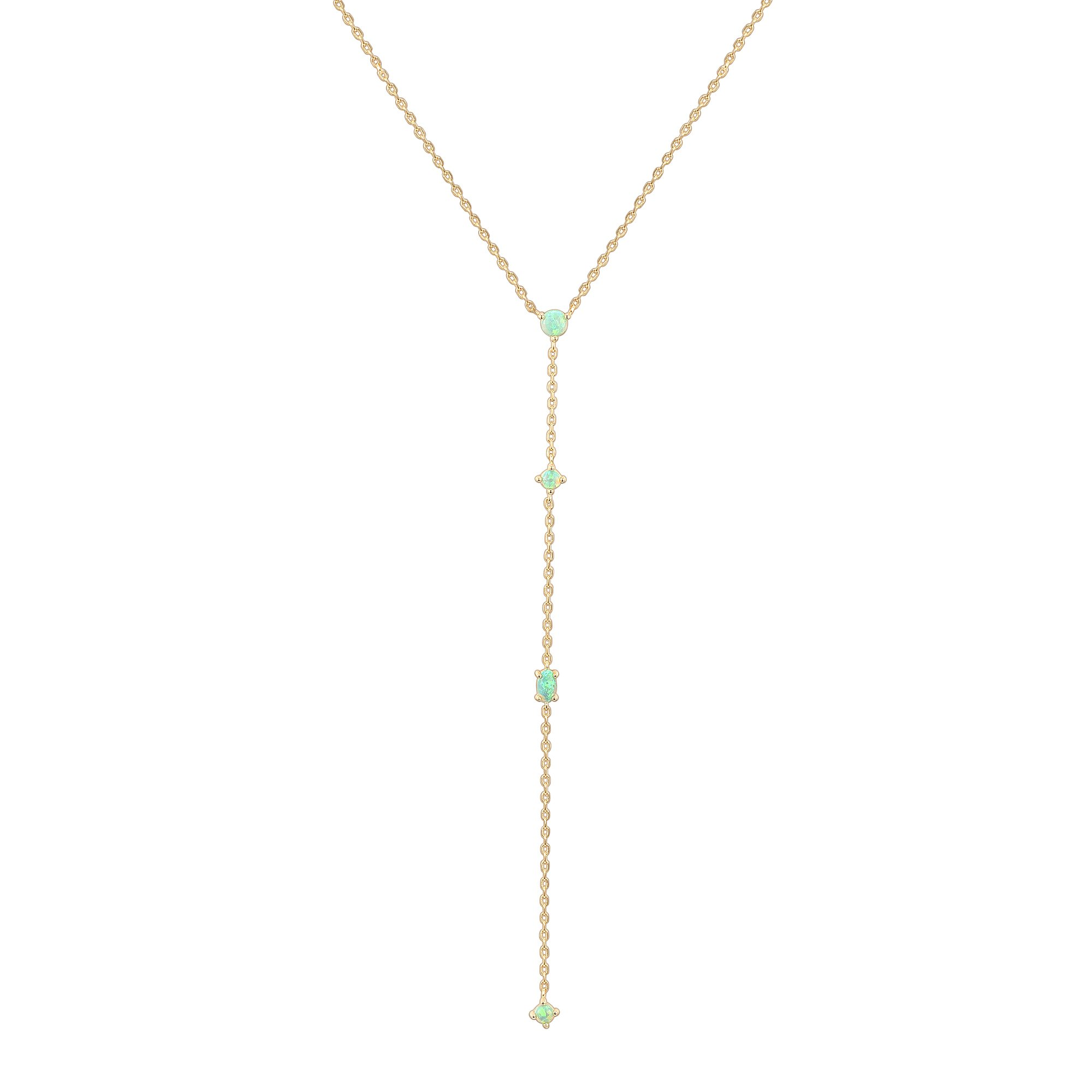 PAVOI 14K Yellow Gold Plated Lariat Necklace Pendant with Created Green Opal Necklace for Women