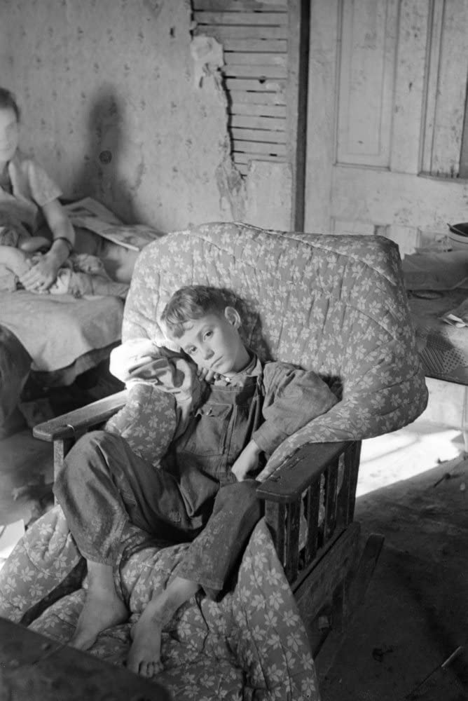 Sick Child 1937 Nthe Son Of John Scott A Migrant Worker Recovering From A Severe Attack Of Pneumonia At Home In Ringgold Iowa Photograph By Russell Lee 1937 Poster Print by (18 x 24)