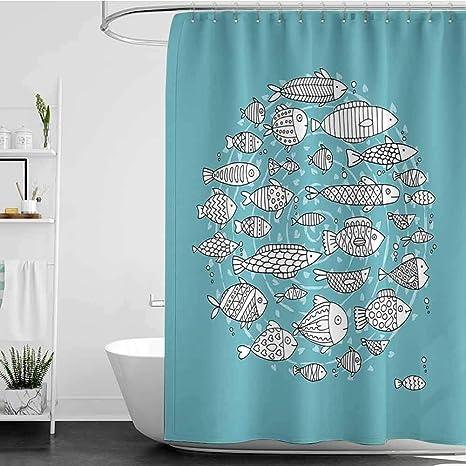 Amazon Com Starsart Shower Curtains For Kids Bathroom Sets Baby Fish Community Swimming In The Ocean Kids Nursery Playroom Cartoon W72 Inch X L78 Inch For Master Bathroom Kid S Bathroom Guest Bathroom Home