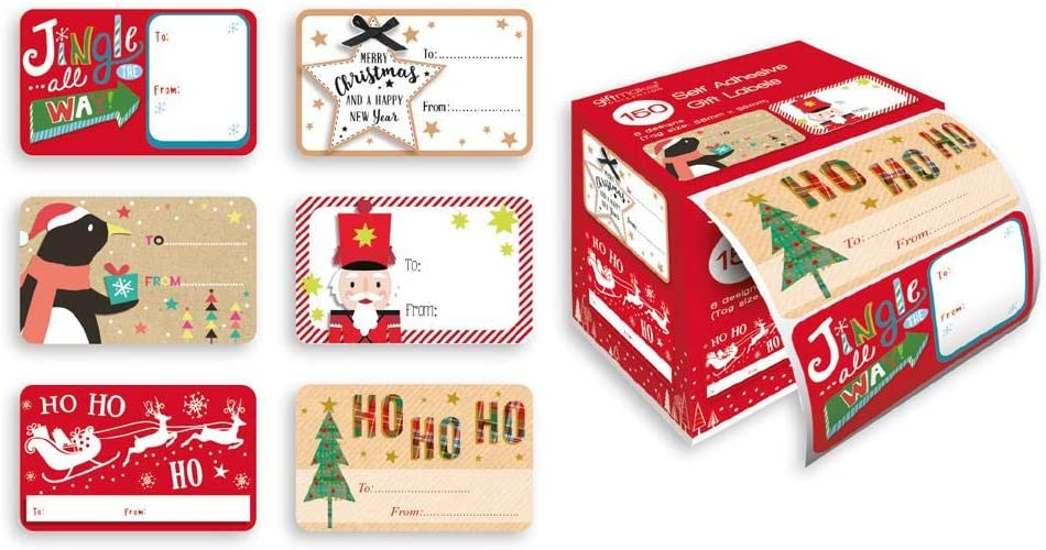 Box 150 Self Adhesive Christmas Gift Labels