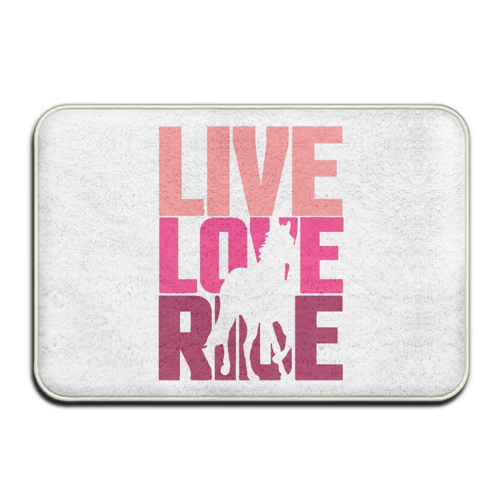 Coral Velvet Memory Foam Bath Mat Live, Love, Ride Horse Washable Bath Mats