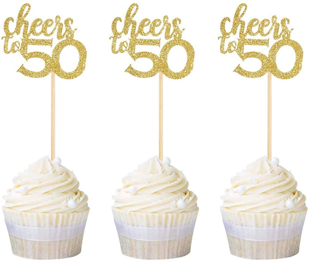 Pack of 24 Cheers to 50 Cupcake Toppers Gold Glitter 50th Birthday Cupcake Picks Anniversary Party Decors