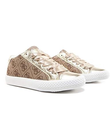 440468b6cbd5 Guess Baskets Fille Laure Beige  Amazon.fr  Chaussures et Sacs