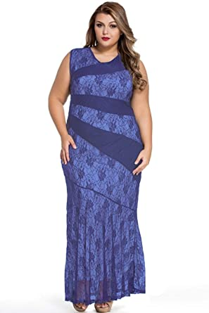 Plus Size Blue Floral Lace Sleeveless Maxi Dress Evening Prom Party Wear Size UK 16-