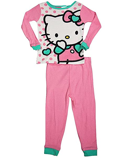 2f80155a9 Hello Kitty - Little Girls Long Sleeve Pajamas, Pink, White 38251-2T-