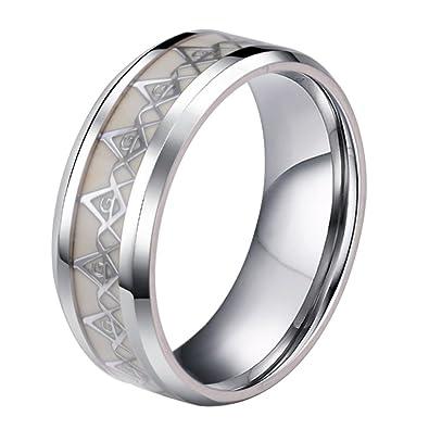 Amazon.com: unaphyo acero inoxidable luminoso joyería anillo ...