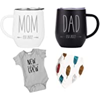 """Pregnancy Gift Est 2022 - New Mommy and Daddy Est 2022 ENGRAVED 11 oz Mug Set with """"New To The Crew"""" Romper (0-3 Months…"""